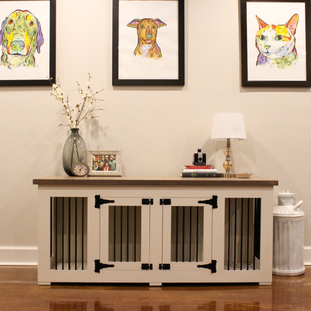 white and gray dog crate