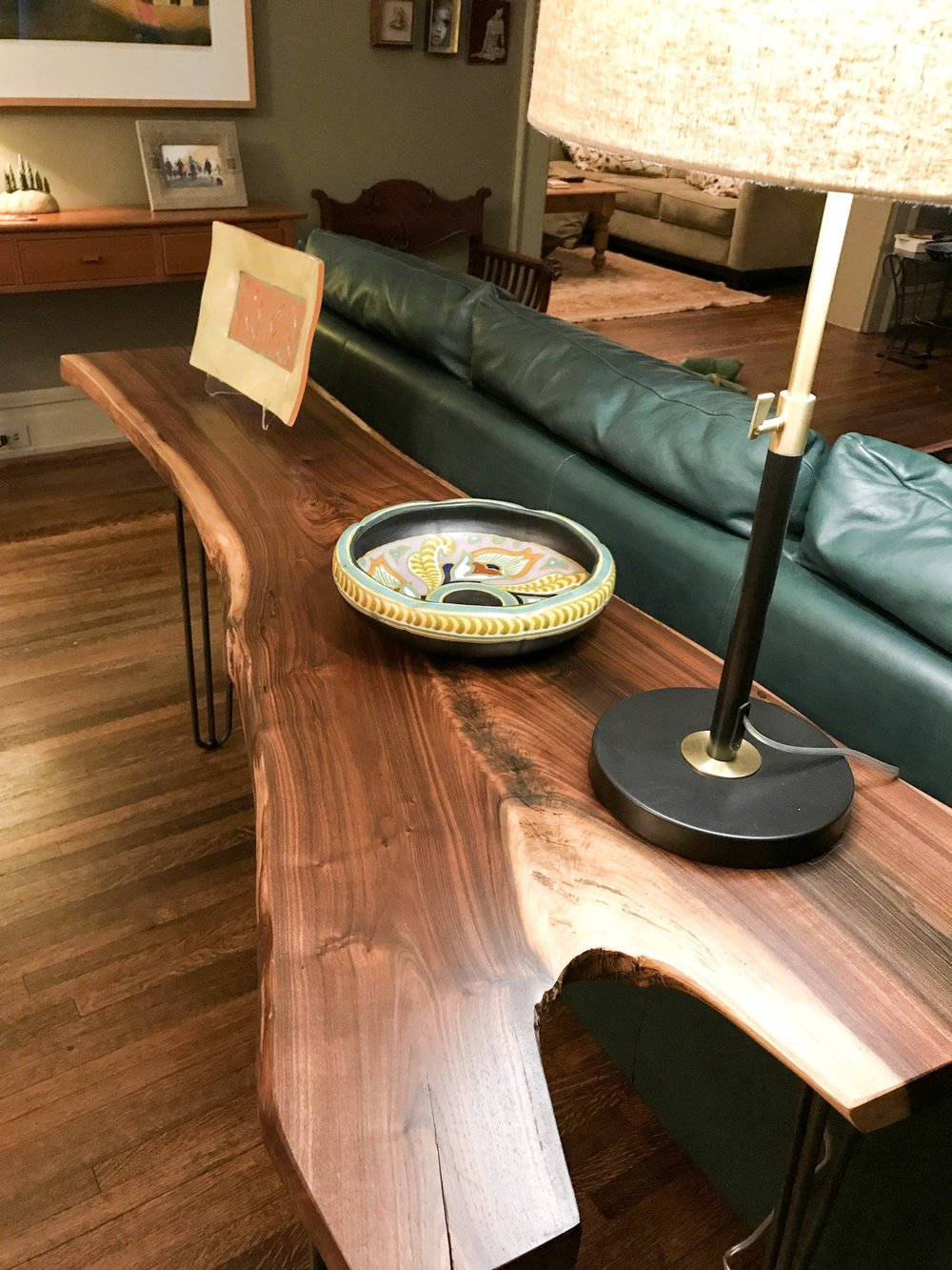 walnut live edge console table