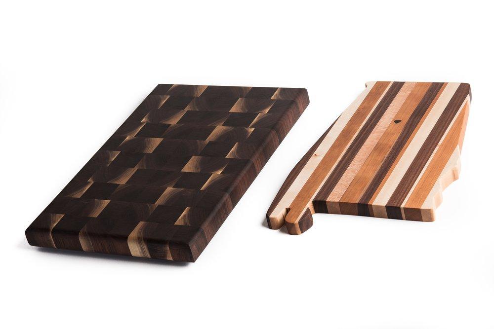 walnut end grain and Alabama edge grain cutting boards