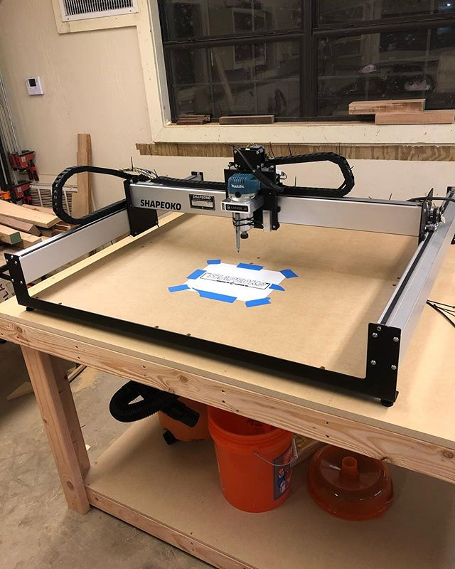 The Shapeoko is all setup and ready to go! Ran the traditional sharpie test with a @revmarkmarker that they included and besides my zip ties not being tight enough, everything went smoothly. Can't wait to actually cut some wood with this guy!  #woodworking #woodwork #wood #workshop #diy #dowoodworking #handmade #woodworker #alabama #BirminghamAL #instagrambham #TeamRidgid #cnc #shapeoko #cncwoodworking