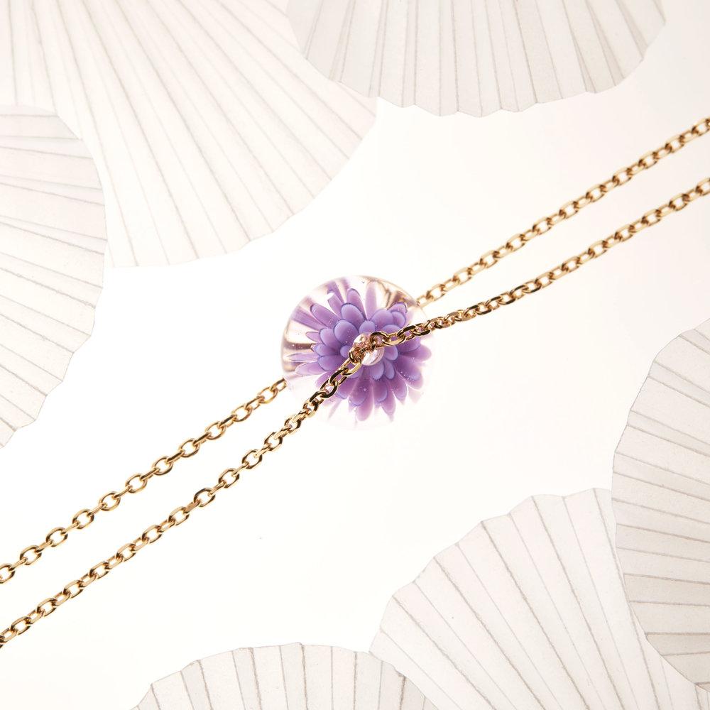 bracelet fait main fleur de verre - violet - dentelle givree .jpg