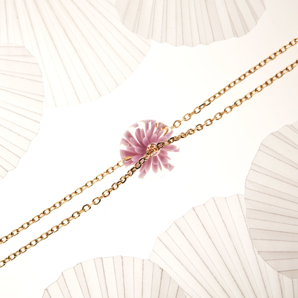bracelet fait main fleur de verre - violet rose - dentelle givree .jpg