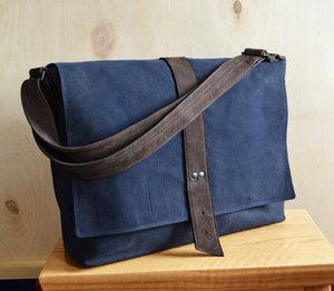 34336e85b3 The Sloane Waxed Canvas Messenger Bag in Navy Blue