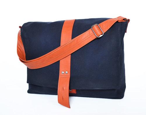 a51c384ae77e Lolafalk — The Sloane Waxed Canvas Messenger Bag in Navy Blue