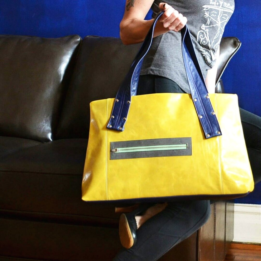 Grayson Leather Laptop Shoulder Bag in Yellow