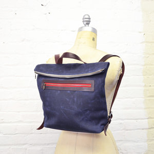 fa594d7a39 The Wren Waxed Canvas Convertible Backpack in Navy ...