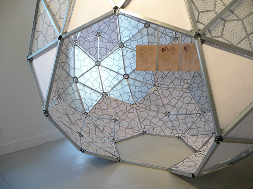 sociodesic:a space for the three great loves, 2010. Aluminum, mylar, paper, wood, pencil, screen-print.   Galway Arts Center.
