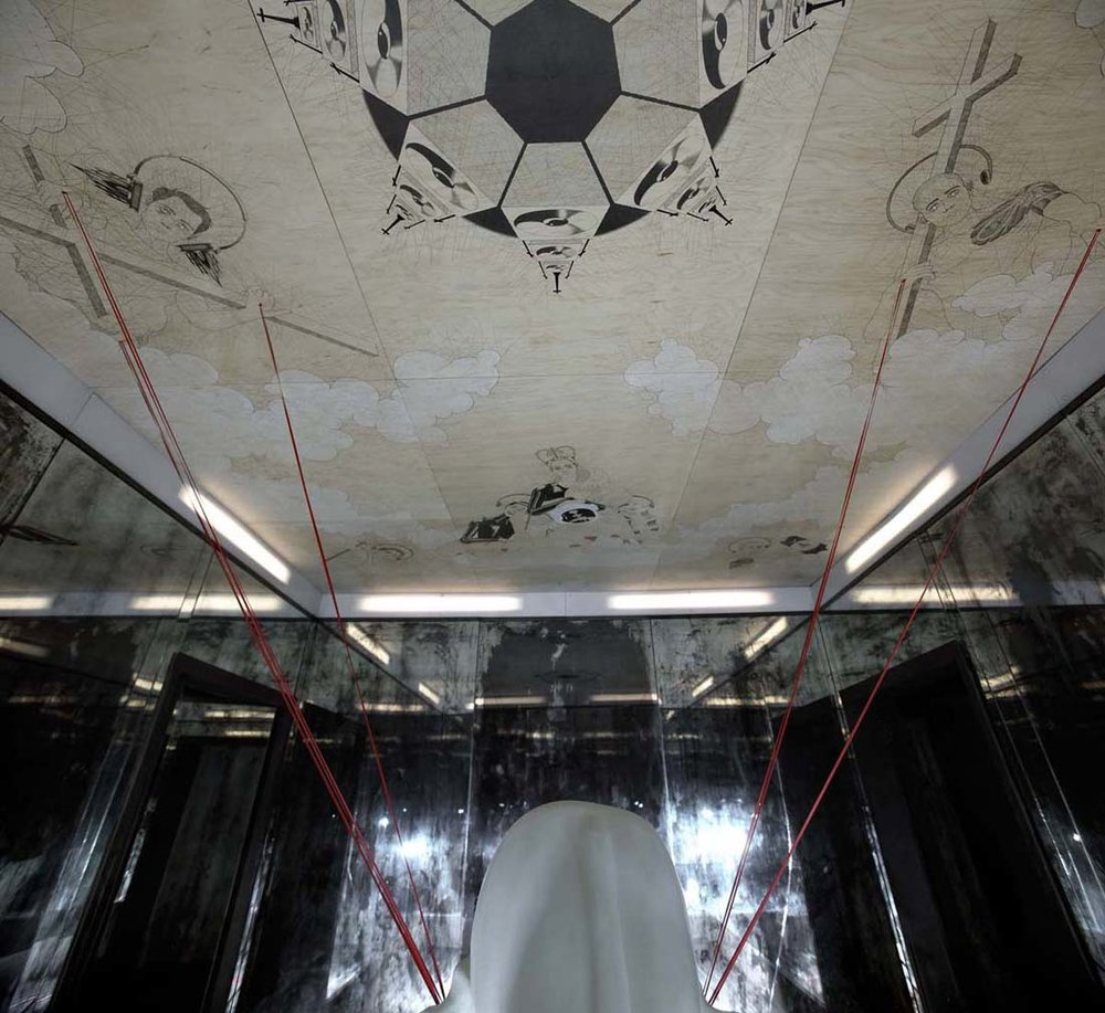 Reckoner  , 2009. (ceiling detail) Wood, mirror, pencil, pen, paint, ribbon, hydraulic system, water. 12' x 16' interior.