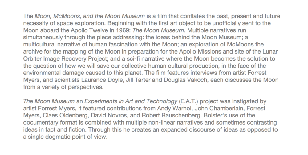 About:  The Moon, McMoons', and the Moon Museum,  2016. Single channel video, 47mins 11 seconds.