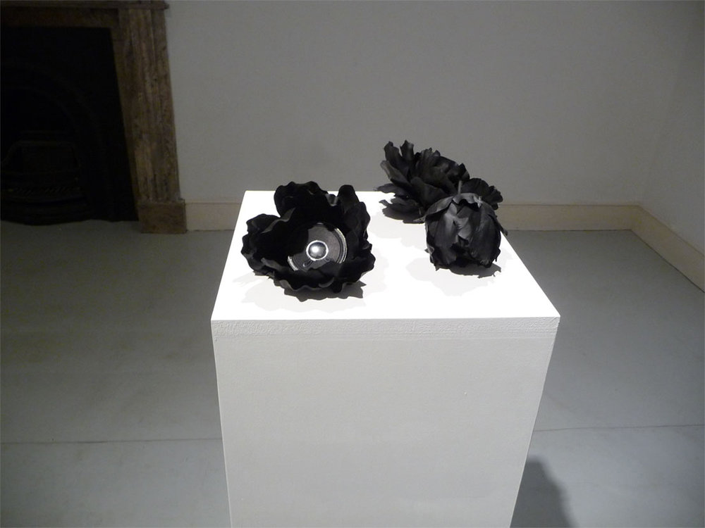 The Atheist's Lament, 2010.  Custom made Flower speakers with recording of Christ is Beside Me  (the word Christ replaced by No One throughout)