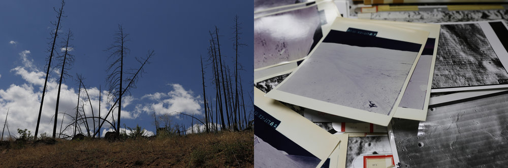 "Culture With and Without Atmosphere, 2016.  Chromogenic diptych, each 20 x15""  Left: Forest fire by Hat Creek Radio Observatory, CA. Right: McMoons' Archive of Lunar Orbiter Missions to map the Moon."