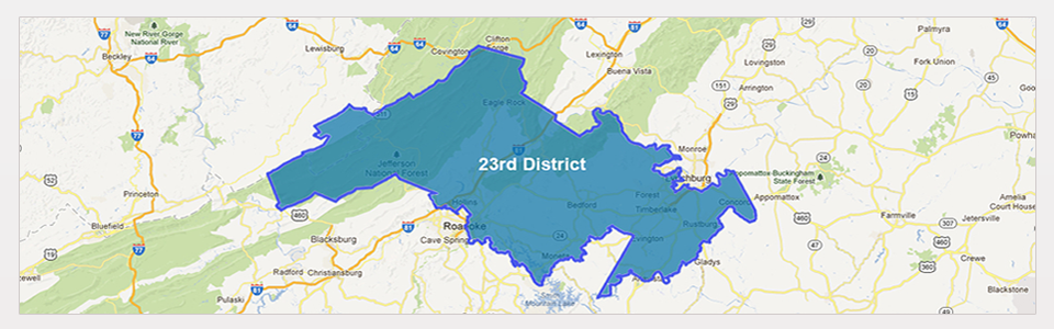23rd Virginia State Senate District. This district touches the counties of Roanoke, Botetourt, Craig, Bedford and Campbell County including parts of Lynchburg City and all of the town of Bedford.