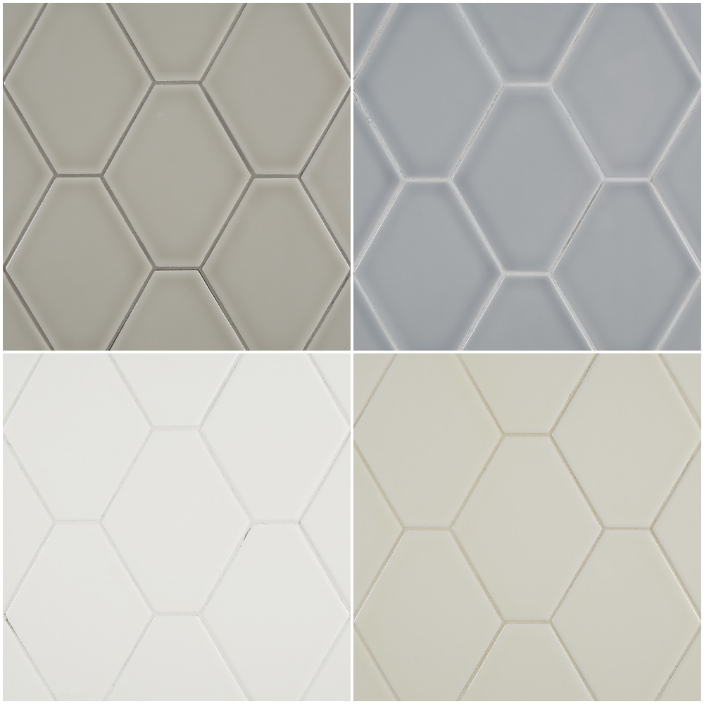 Oversized hexagonal tiles in gloss finish - choice of 4 colors