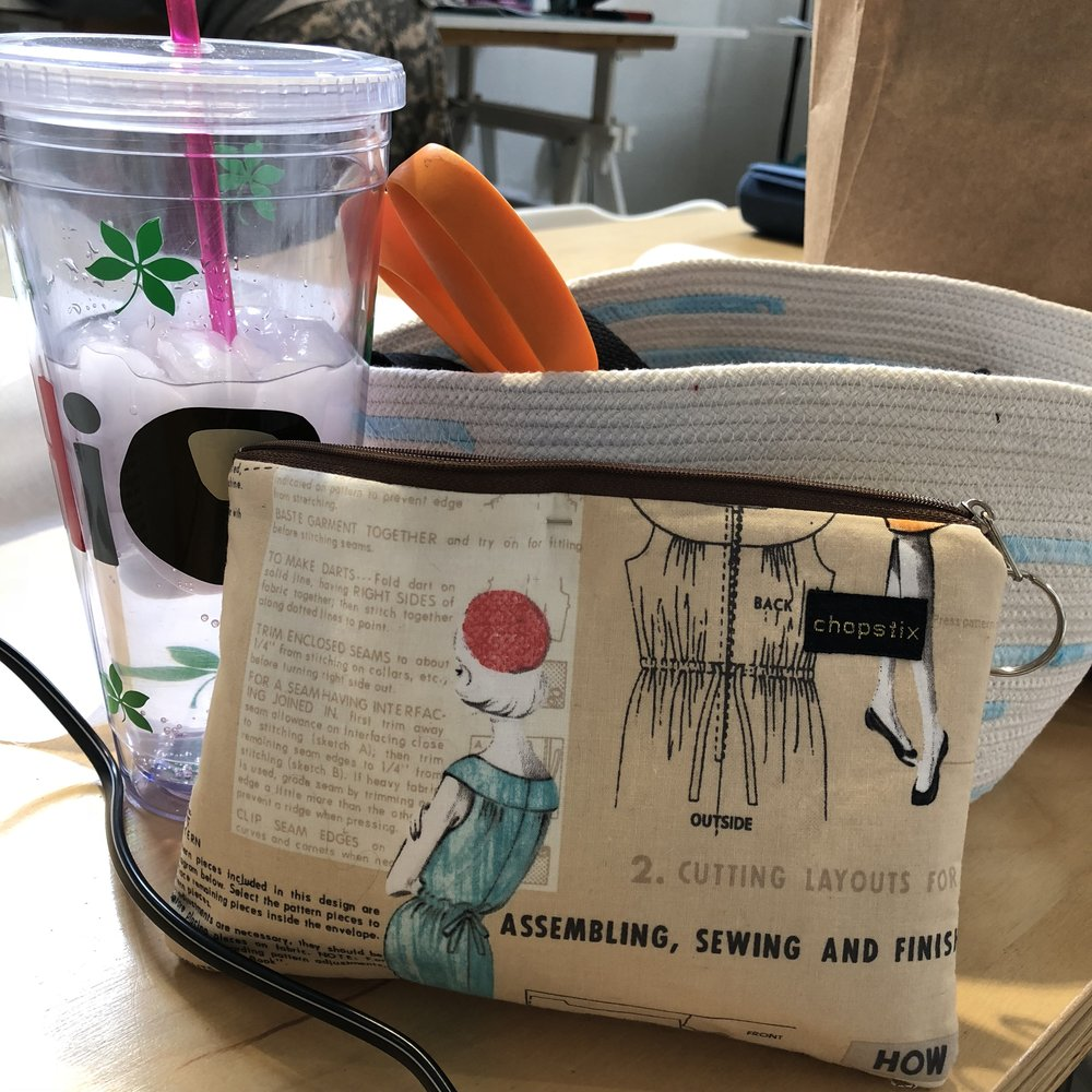 Notice my Studio Chopstix sewing tote, Sweet Butter Cup Designs cold drink cup and my own handmade rope bowl!