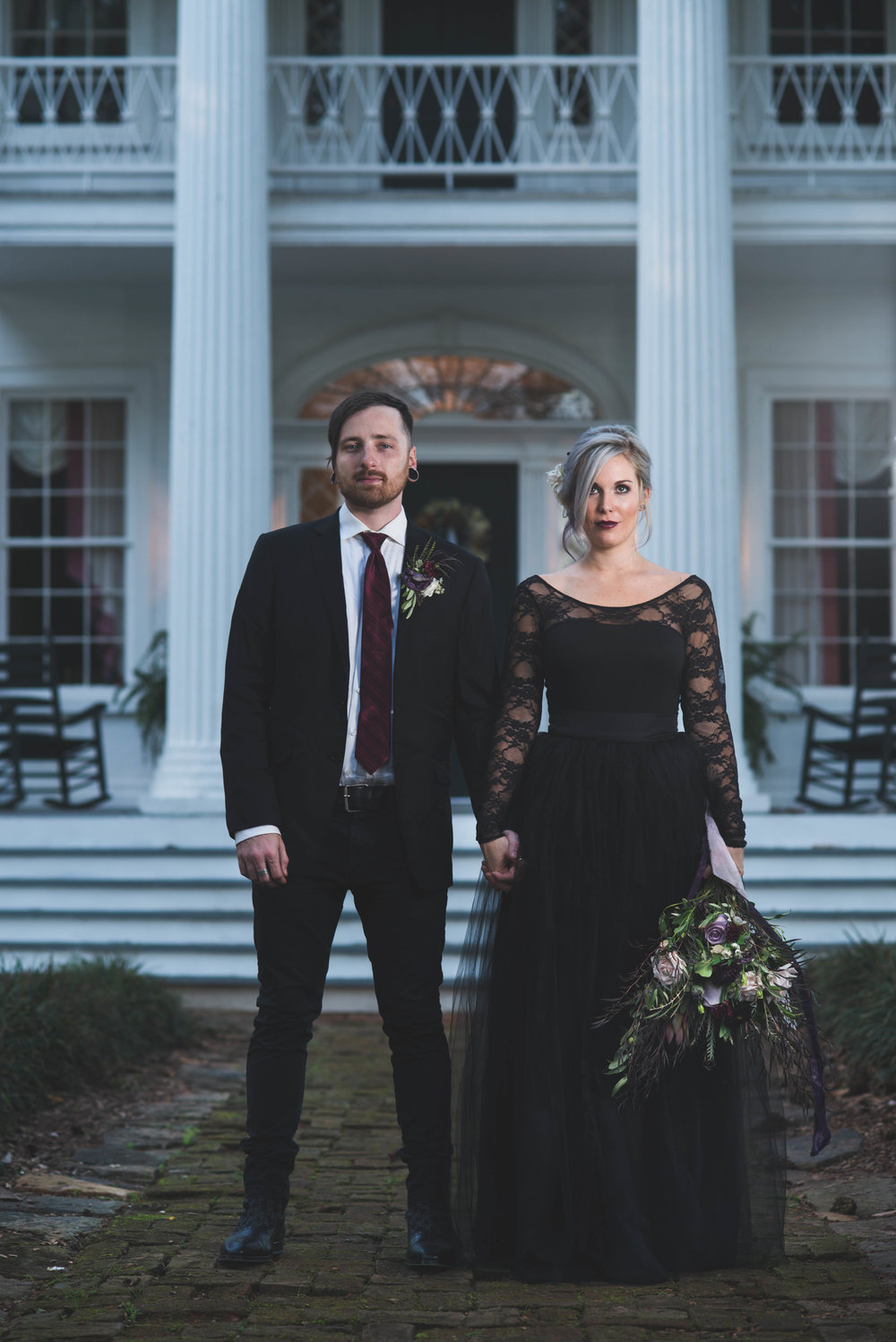 Bride and Groom Formal Picture at a Halloween Inspired Wedding at Nutwood Plantation in LaGrange GA