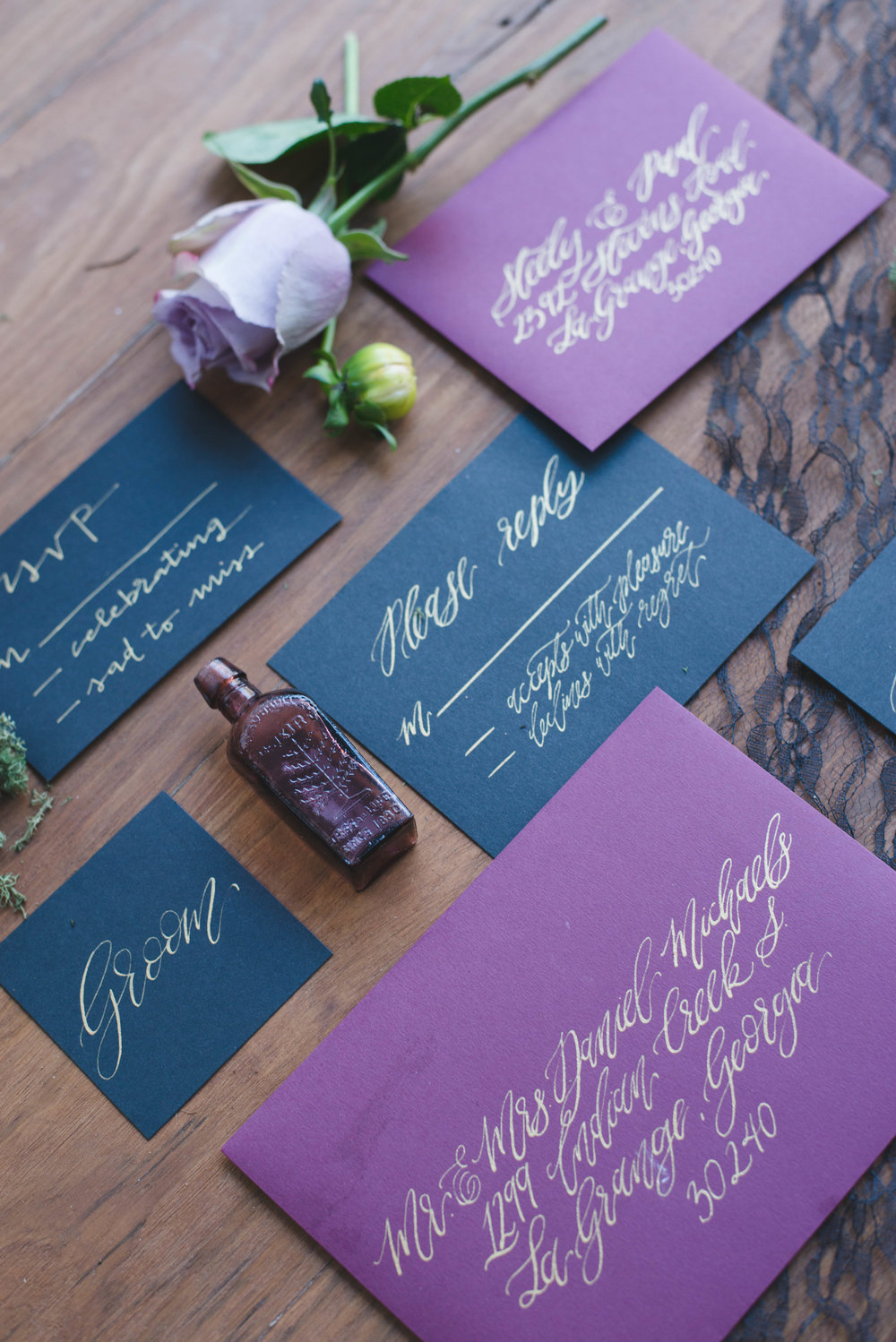 Black and Purple Invitation Suite for a Halloween Inspired Wedding