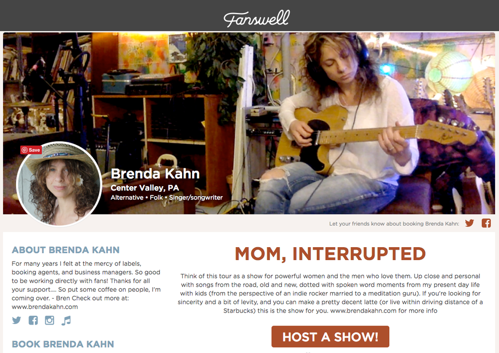 Host a house concert through  Fanswell.com , powered by people. To book other venues, contact me  HERE .