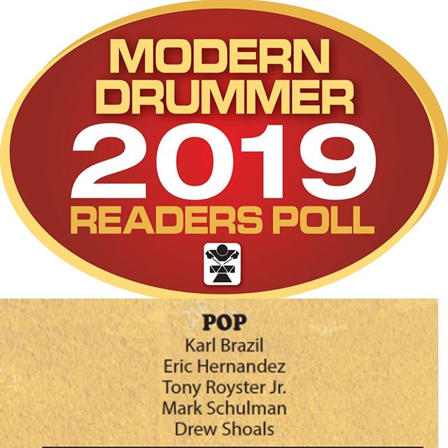 Many thanks to @modern_drummer for including me in the 2019 Readers Poll for the Pop drummer category. It's an honor to be mentioned among so many talented drummers who I admire, like my friend @epandagram and a monster like @tonyroysterjr. Thanks to all of the people who made this year an amazing one: @train, @zildjiancompany, @ludwigdrumshq, @remopercussion, @vicfirth, @roland_us, @westoneaudio, @_reflexx_ , @bigfatsnaredrum, and all of Train's amazing fans! If you feel like voting, you can do so at moderndrummer.com/article/modern-drummer-2019-readers-poll/. Link in bio. 🥁🙏🏽 #shoalsshows #drummerdrewsview