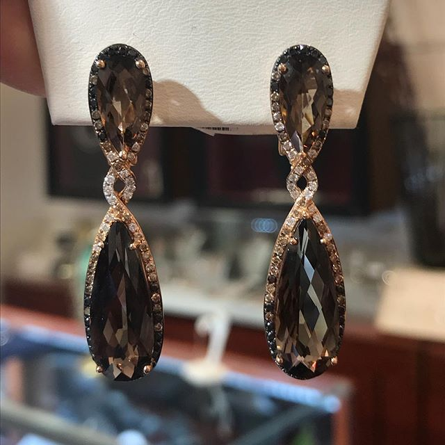 "Next Up... #blackdiamond #Champagne diamond #whitediamond #earrings with #smokeyquartz #stones #earrings set in #rosegold Regular price $1465 Below wholesale cost $799! 1 3/4"" plus"