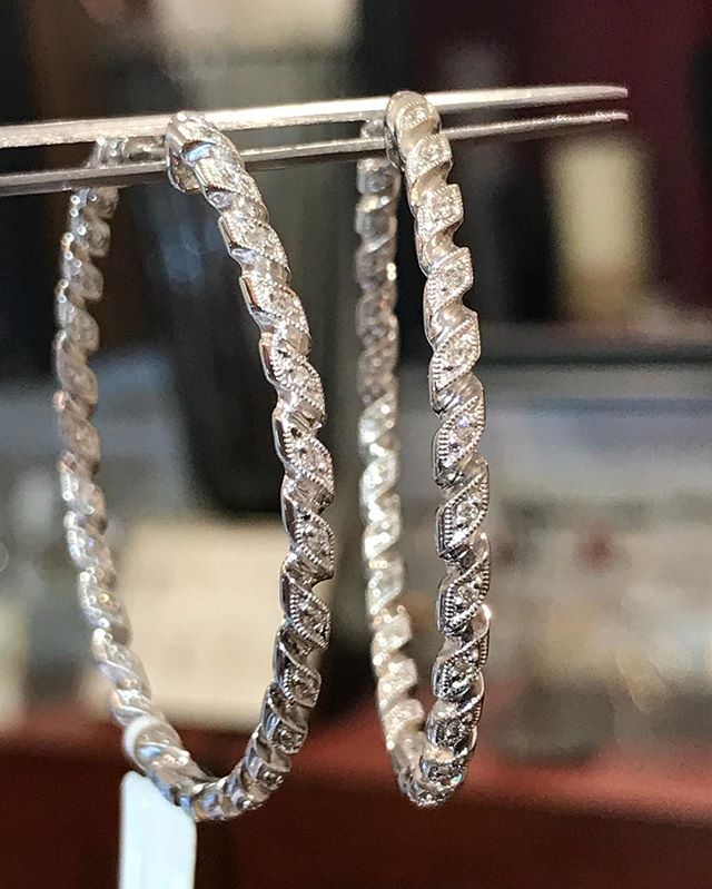 Next Up.... #diamond #14k #whitegold #designer #gabrielandco braided #hoop #earrings perfect for #everydaywear  Size approx 1 1/2 inches + Regular Price $1395 BLOWOUT SALE  Below wholesale cost $669!
