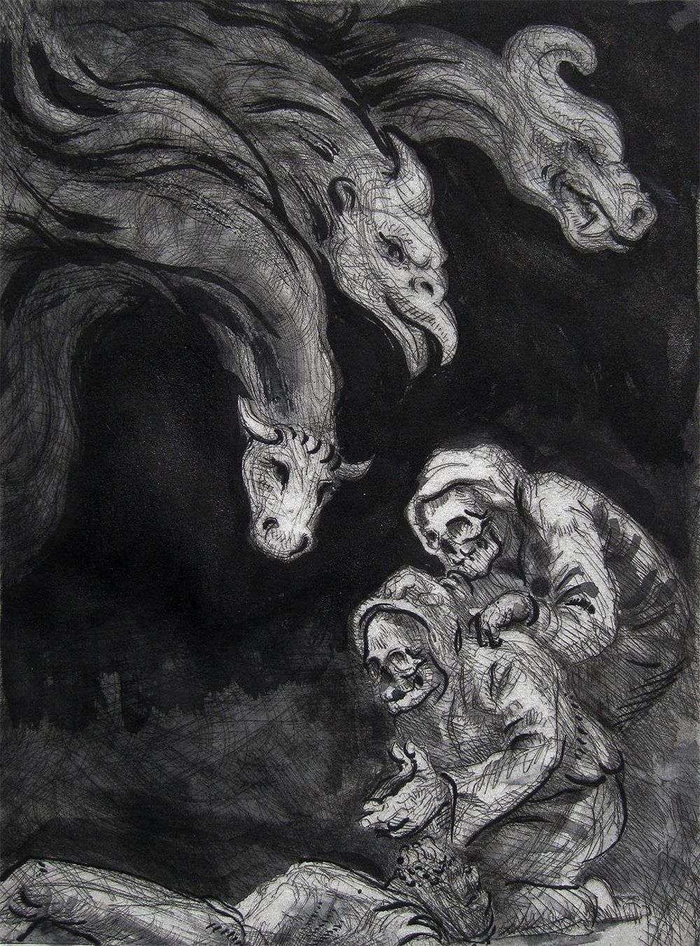 """The Dance of Death , 2013. Etching proof, with brush and ink. 12"""" X 9"""""""