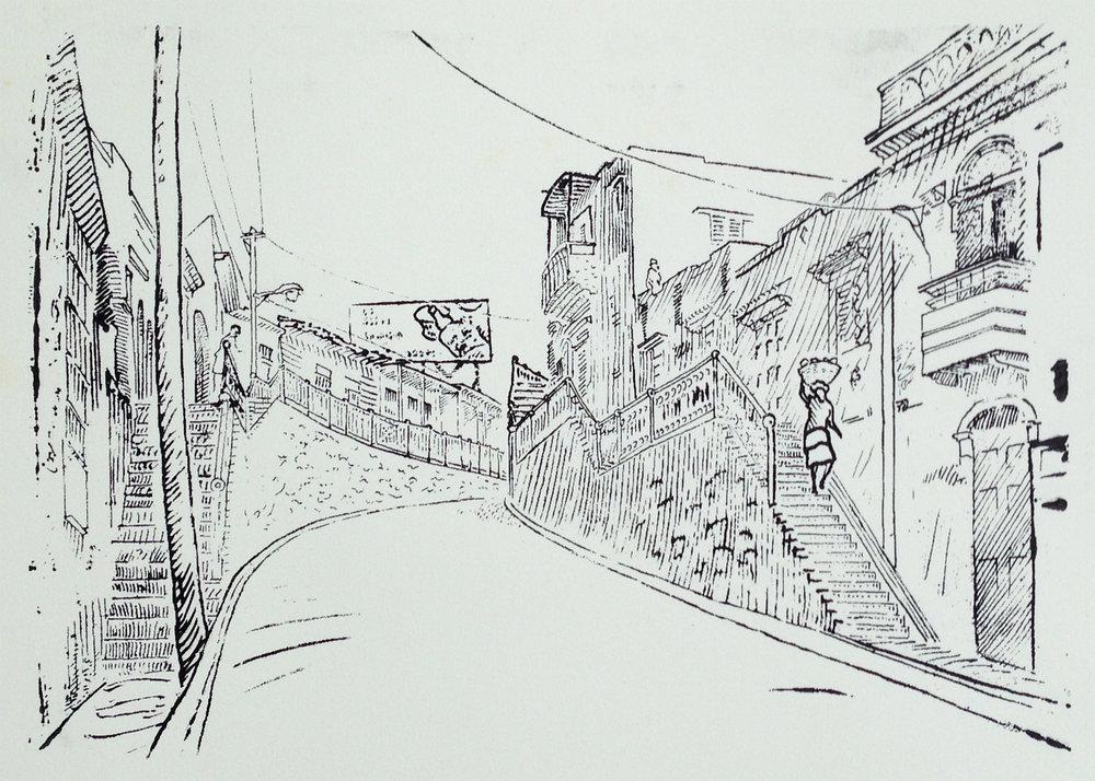 La Cuesta del Vidrio (The Glass Slope) , 2008. Silk screen. 9.5 X 13.75