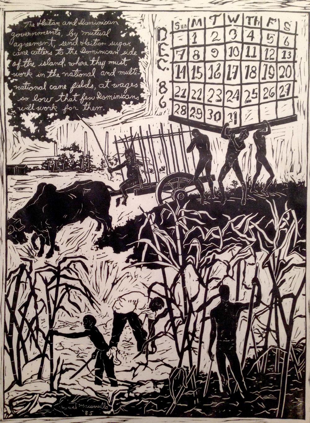 """December '86,  1985. Linoleum cut. 24"""" X 18"""" The Study Collection, Museum of Modern Art, New York"""