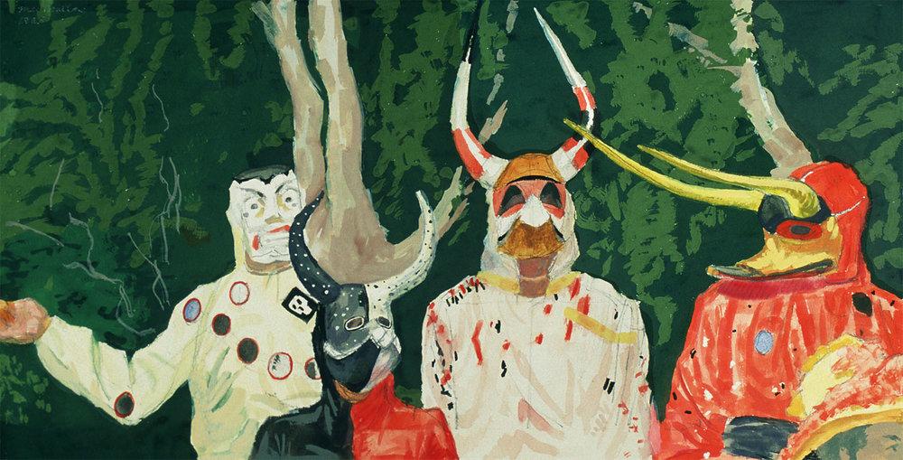 """""""Carnaval de Santiago, study"""", 1985. Gouache. Private collection."""
