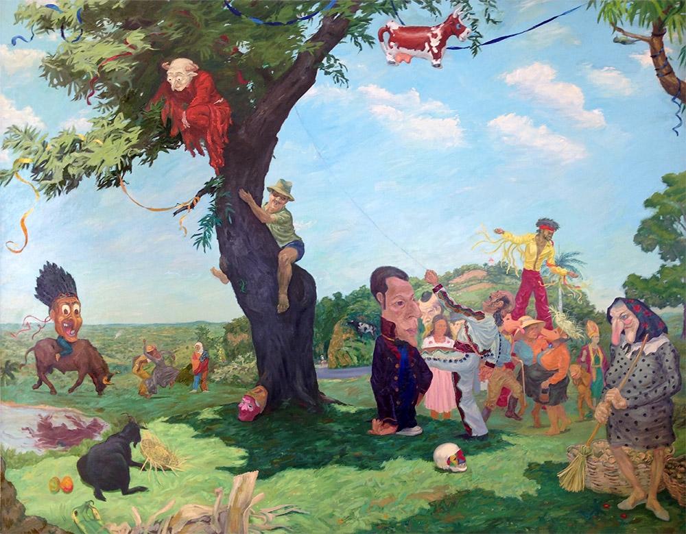 "El carnaval del Santo Cerro (The Santo Cerro Carnival,) 1981. Oil on canvas. 84"" X 108"". Collection of the Smithsonian Museum of American Art."