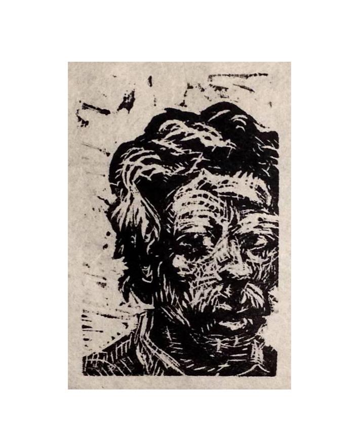 "An Unidentified Man , 2014 Wood cut. 3"" X 2""."