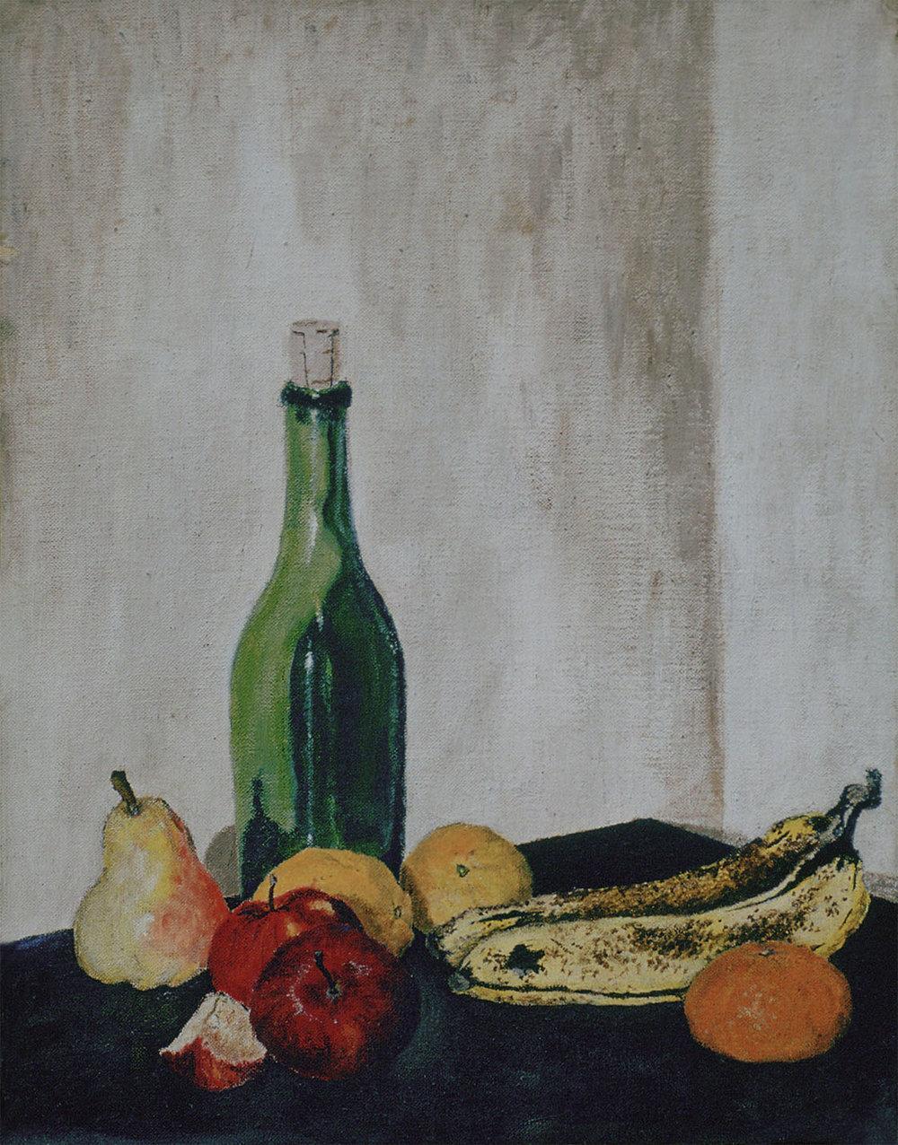 "Still Life, 1970. Acrylics on canvas board. 17"" X 14"""