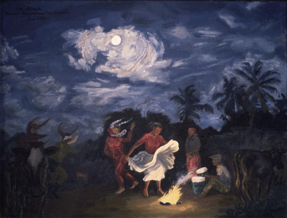 "Aquelarre (Witches' Sabbath), 1980. Oil on canvas. 18"" X 23 1/4"". Private collection."