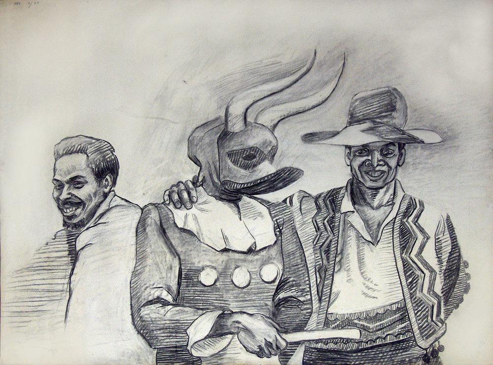 Carnival Study I, 1977. Charcoal.