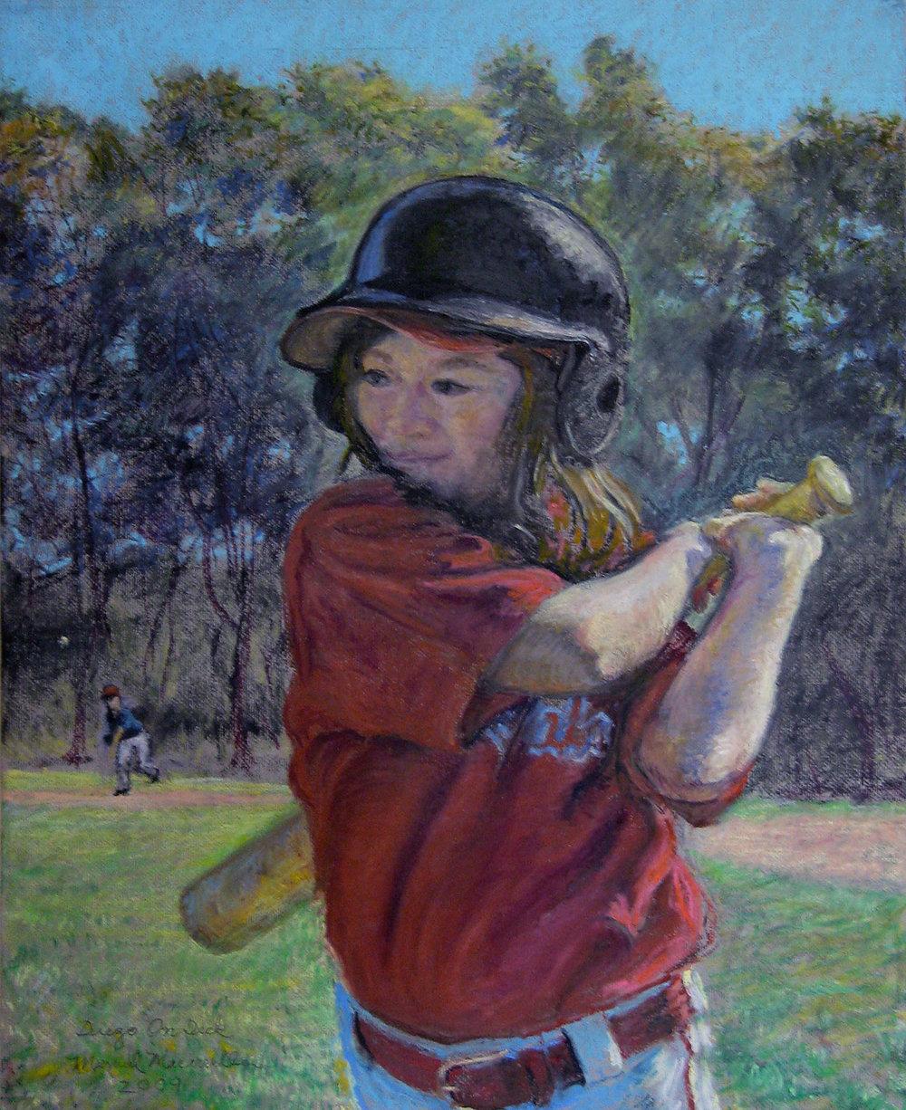 """Diego on Deck, 2009 Oil pastel, 22"""" X 18"""""""