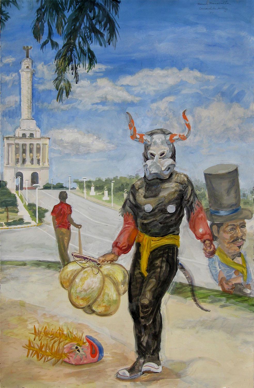 "Santiago Carnival Study, 1996. Gouache. 36"" X 24""."