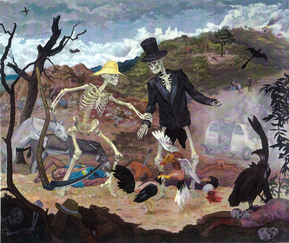 "Goat Song # 1: Struggle,  1986 Oil on canvas. 88"" X 105"" Collection of The Studio Museum in Harlem."