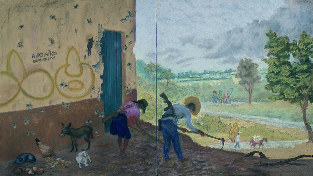 "They Shall Not Pass,   Study,  1988 Pastel, 20"" X 40"" Private collection."