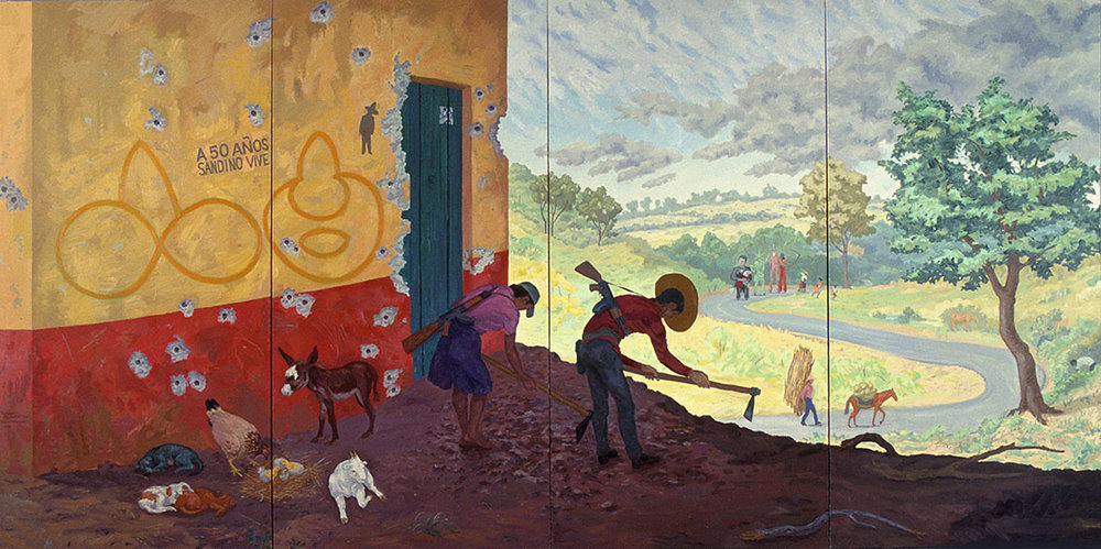 "Goat Song #3: They Shall Not Pass,  1988. Oil on linen. 96"" X 192""."