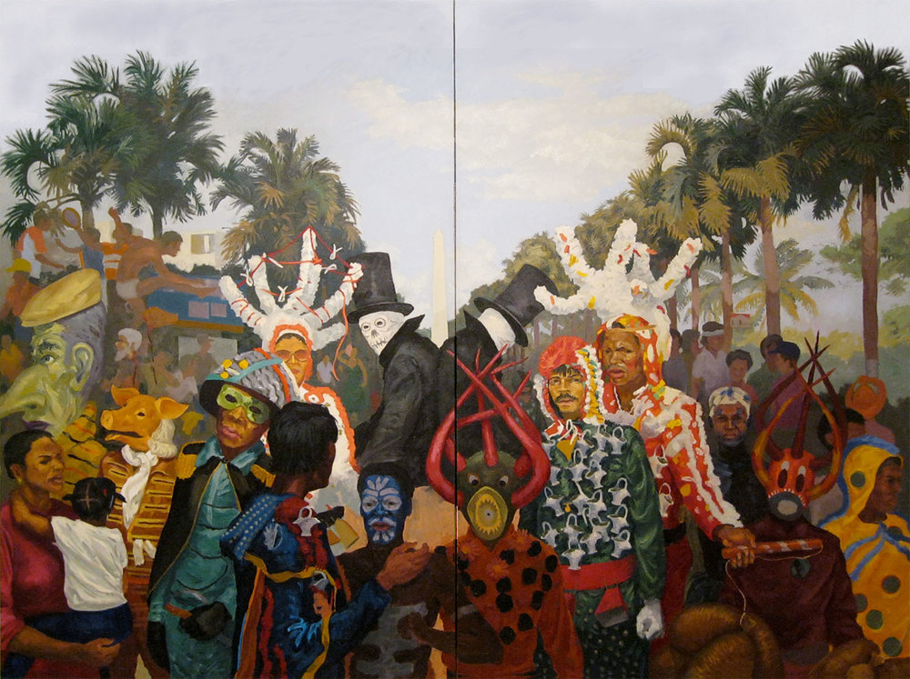 "Goat Song # 5: Tumult on George Washington Avenue,  1988 Oil on canvas. 72"" X 96"" Collection of El Museo del Barrio"