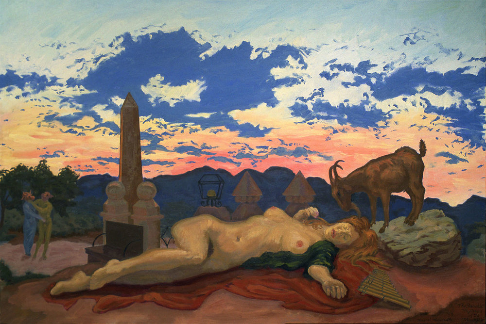 """The Bacchic Mysteries of the Mountain, 1990 Oil on canvas. 48"""" X 72""""."""