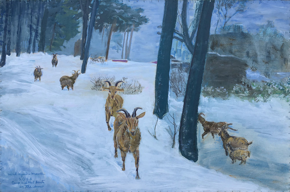 "Cam Wel Met Goats in the Snow,  2018. Acrylics on paper. 26.5"" X 40"""