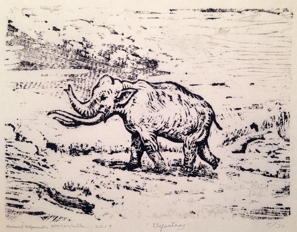 Elefantasy,  2019 Linoleum cut