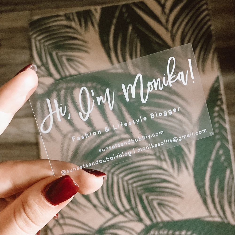 boss babe clear plastic business cards