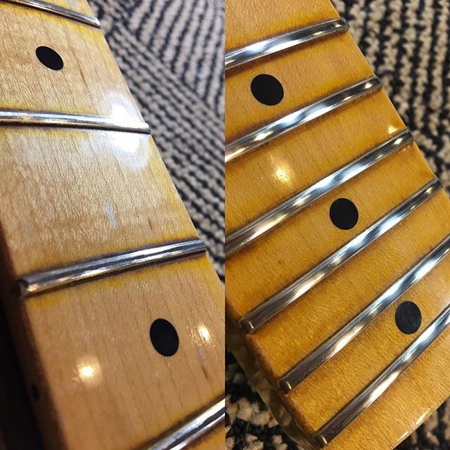 Level Crown Polish #fender #customshop #fretdress #luthier