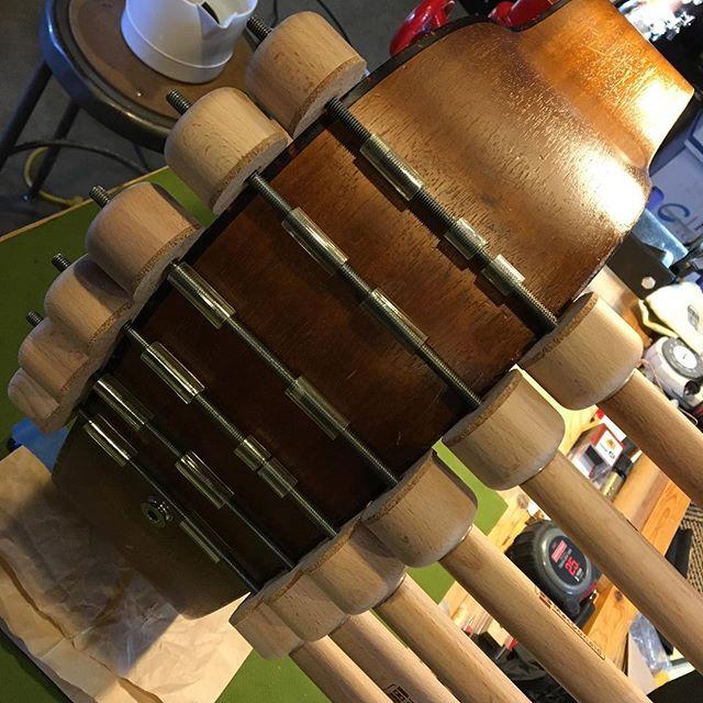 Last seam. #hothideglue #luthier #repair #vermont #dylanfest