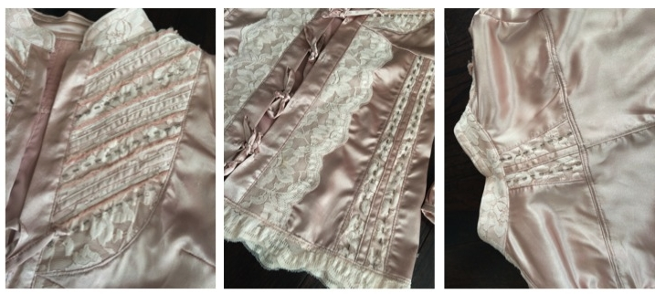 Light pink 3/4 length sleeve shirt. Thin satin fabric. Accents of pale pink lace and silver beads on chest area, both front side panels, upper back panel, and along hemline.