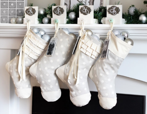 Inspiration photo of Christmas stockings made of gray fabric with white polka dots. Photo credit:http://www.fynesdesigns.com.