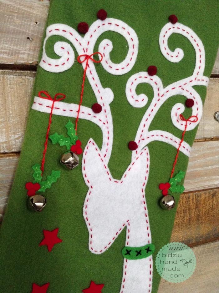 custom made Christmas stockings, handmade Christmas stockings, traditional Christmas stockings, green Christmas stocking, reindeer Christmas stocking, Christmas decor, felt Christmas stocking, personalized Christmas stockings