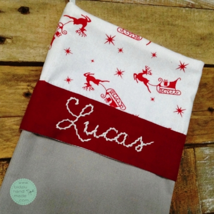 DIY yourself Christmas stockings, custom made Christmas stockings, red gray white Christmas stockings, unique Christmas stockings, personalized Christmas stockings, modern Christmas stockings, handmade Christmas stockings, bidziu handmade, bidziuhandmade