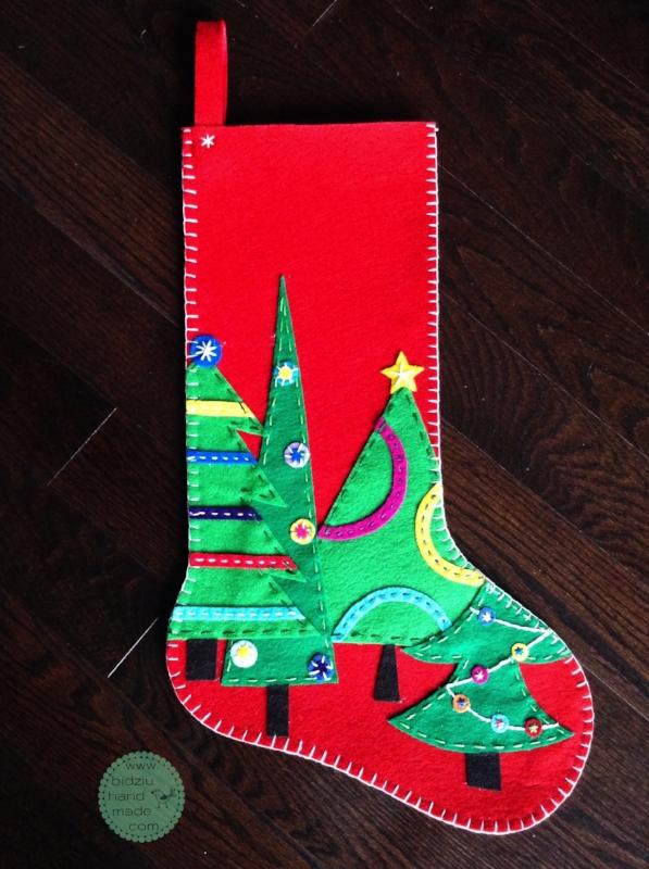 felt Christmas stockings, custom made felt Christmas stockings, hand made felt Christmas stockings, geometric Christmas stockings, non-traditional Christmas stockings, colourful Christmas stockings, Christmas stockings with reindeer design, handmade Christmas